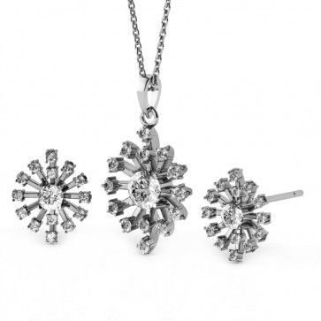 Rhodium Plated Diamond Color Fashion Pendant & Earrings Set made with Swarovski Crystals (GS034CR). #Glimmering #SwarovskiNecklaces #SwarovskiPendantSets #FashionNecklaces #DesignerPendantSet #NecklaceSwarovskiCrystals #CrystalPendant #SwarovskiJewelrySet