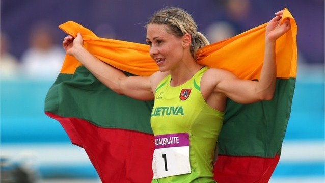 Laura Asadauskaite of Lithuania celebrates winning the Gold medal in the women's Modern Pentathlon on Day 16.