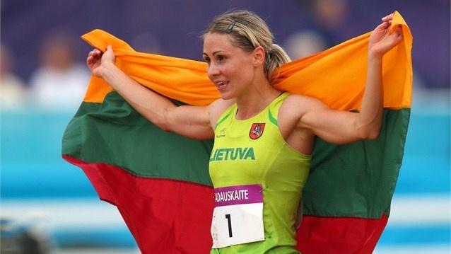 Laura Asadauskaite of Lithuania celebrates winning the Gold medal in the women's Modern Pentathlon on Day 16