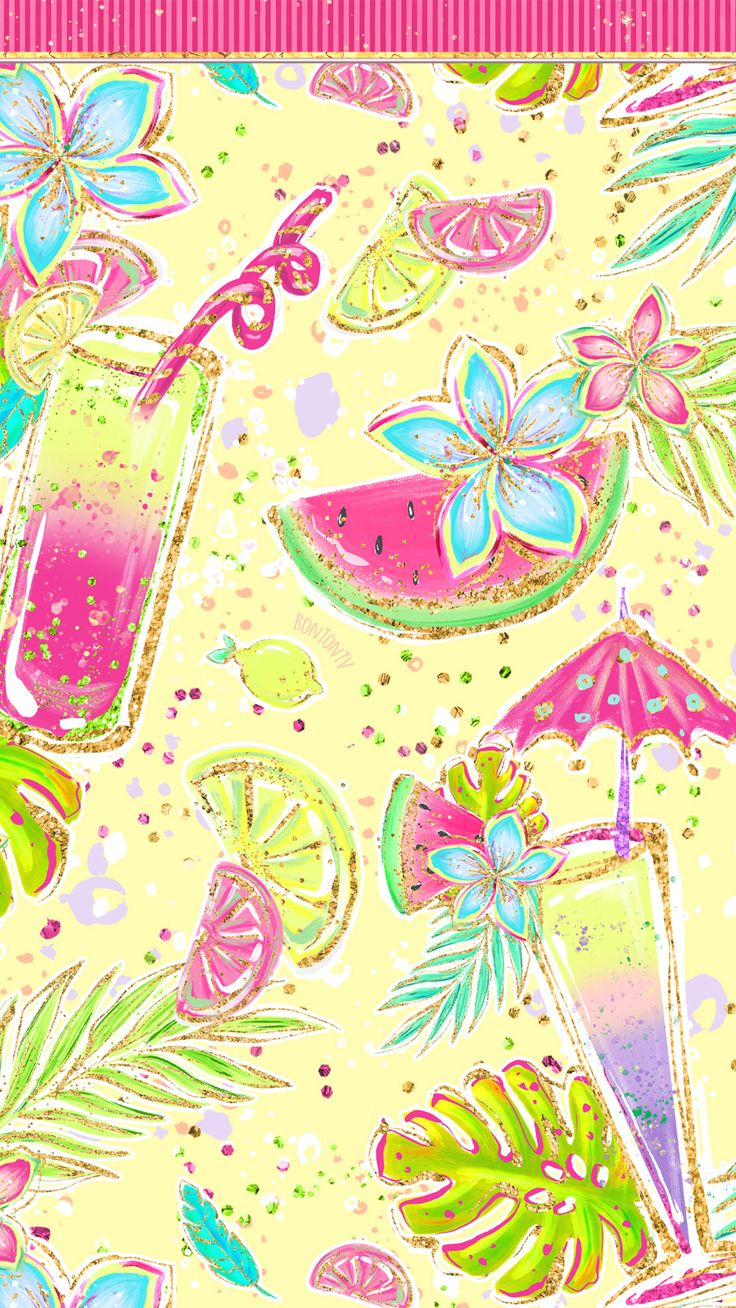 Phone Wallpapers HD Cute Glitter Hot Pink and Colorful Summer – by BonTon TV – F…