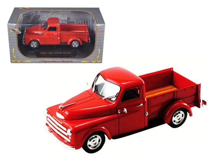 1948 Dodge Pickup Truck Red 1/32 Diecast Model Car by Signature Models - Brand new 1:32 scale diecast car model of 1948 Dodge Pickup Truck Red die cast car by Signature Models. Brand new box. Rubber tires. Dimensions approximately L-6. Has opening doors, hood and rear gate. Made of diecast with some plastic parts. Detailed interior, exterior, engine compartment. Please note that manufacturer may change packing box at anytime. Product will stay exactly the same.-Weight: 1. Height: 5. Width…