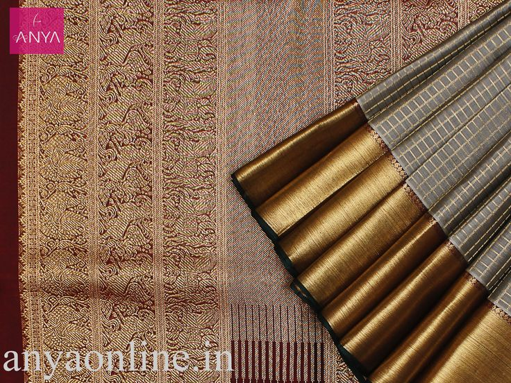 Anya Boutique provide best collection of Kanchipuram silk sarees for bridal in Coimbatore. Grey pure kanchipuram silk checked saree with brown pallu. #Kanchipuram_saree #Bridal_saree #Fashion
