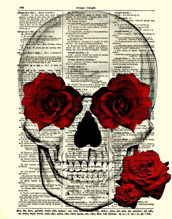 Skull and Roses Art Skull and Roses Collage by reimaginationprints, $10.00