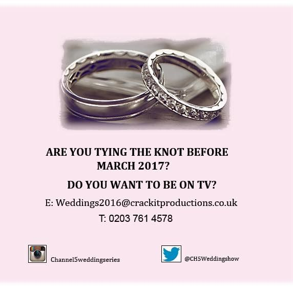 """TV show seeks couples tying the knot this weekend http://www.cumbriacrack.com/wp-content/uploads/2017/02/TV-CASTING-CHANNEL-5.jpg Crackit Productions are making a brand-new show W/T """"Bring on the Bride"""" about wedding planning for Channel 5*. We're looking for brides-to-be that are getting married this weekend Feb 25/26 to take part in the programme.    http://www.cumbriacrack.com/2017/02/20/tv-show-seeks-couples-tying-knot-weekend/"""