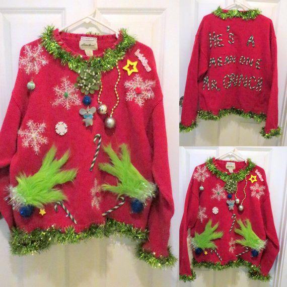 Benutzerdefinierte Mens Grinch mir klebrig hässlich Weihnachten Pullover Garland trimmen gemacht, damit Sie sind einen Mittelwert einer Grinch Pullover, Herren Pullover, hässliche Pullover