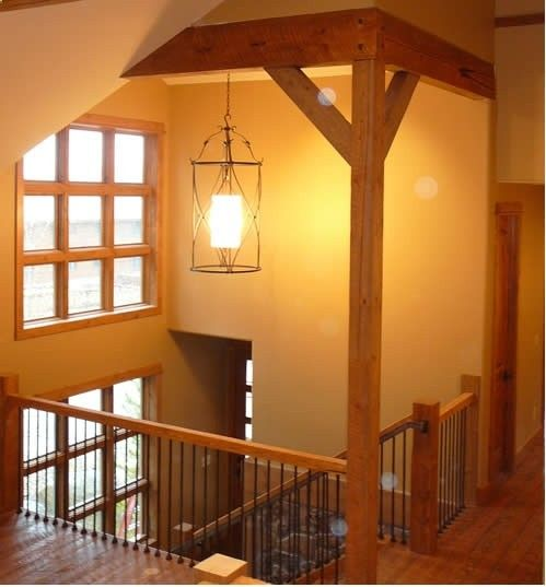 split foyer- this is much better than the iron railing