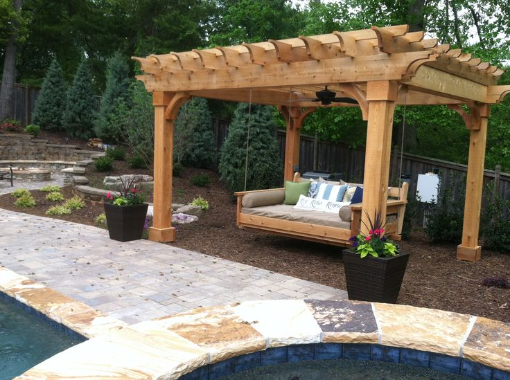 Pergola and swing bed outdoor curtains pinterest for Outdoor swing bed