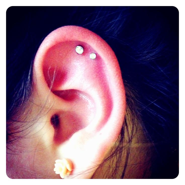 Double cartilage piercing   Cool portraits   Pinterest Ear Piercings Cartilage