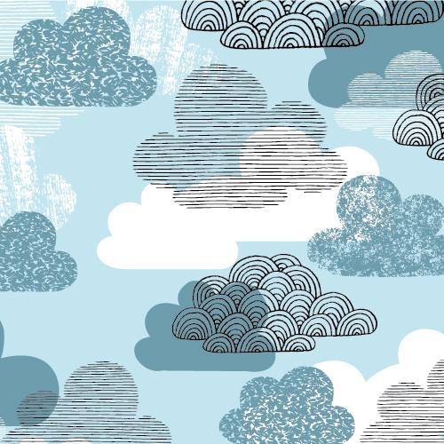 Passing Clouds | Blue :: Bark & Branch by Eloise Renouf for Cloud9 Fabrics