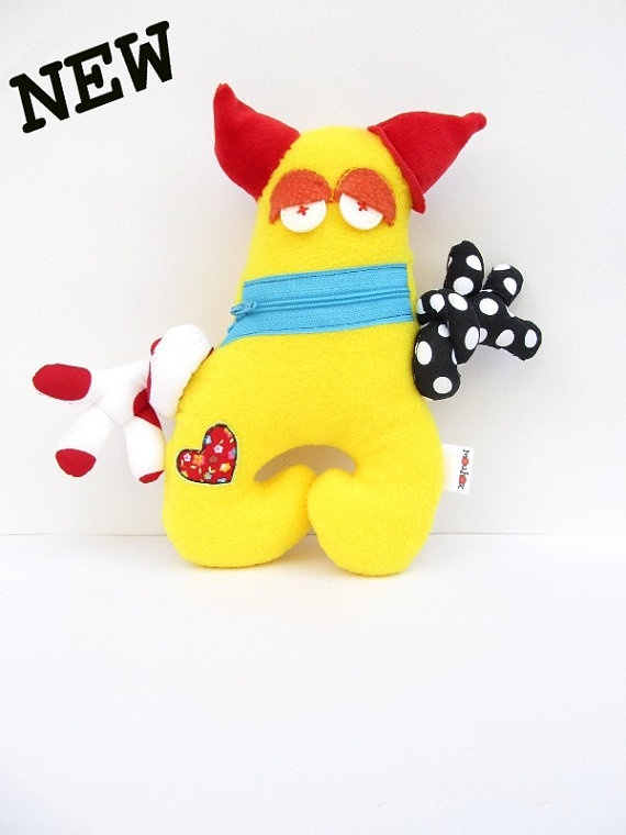 Little yellow monster  Plush  Zipper mouth by mouhoxlab on Etsy, €16.00