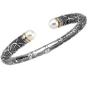 Sterling Silver & 14K Yellow Gold 08.00-08.50 MM Freshwater Cultured Pearl Cuff Bracelet Jewelry Adviser Cuff Bracelets. $482.50