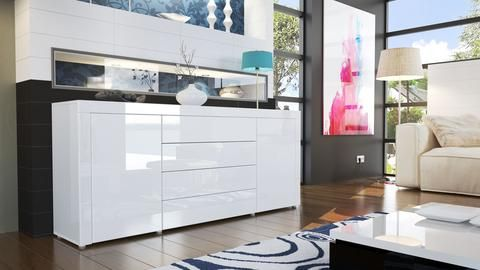 """Sideboard """"La Paz"""" in White High Gloss / Various Colors"""