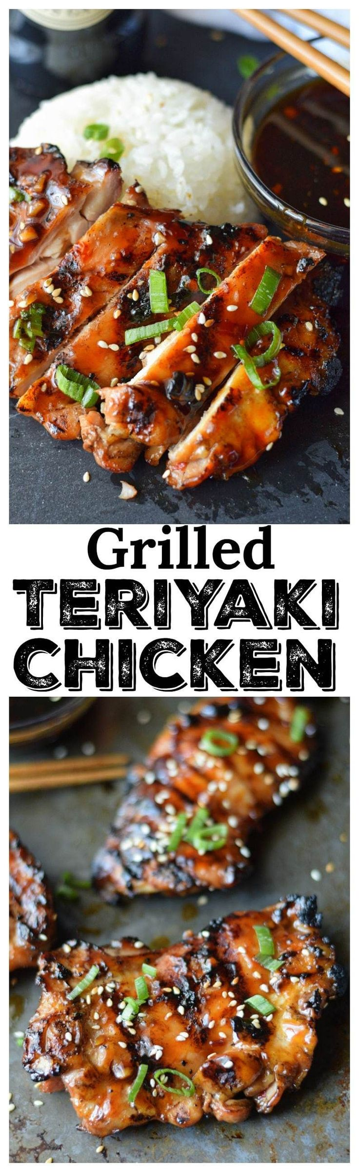 This Grilled Teriyaki Chicken recipe is amazing! Melt in your mouth chicken, smothered in sticky teriyaki sauce.