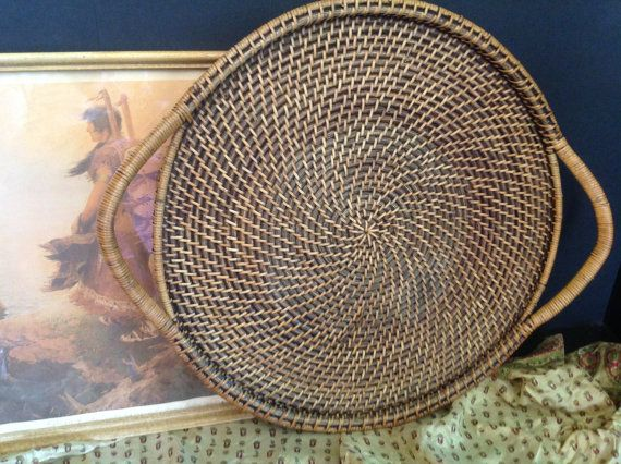 Round baskets wall decor : Woven tray basket server wall art large round with handles