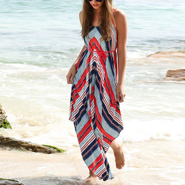 Now available!! Limited editions!!! http://designsbyzuedi.myshopify.com/products/2017-new-arrival-women-boho-striped-beach-summer-dress-ladies-casual-straps-backless-irregular-maxi-long-dresses-vestidos?utm_campaign=social_autopilot&utm_source=pin&utm_medium=pin Boho Striped Beac...