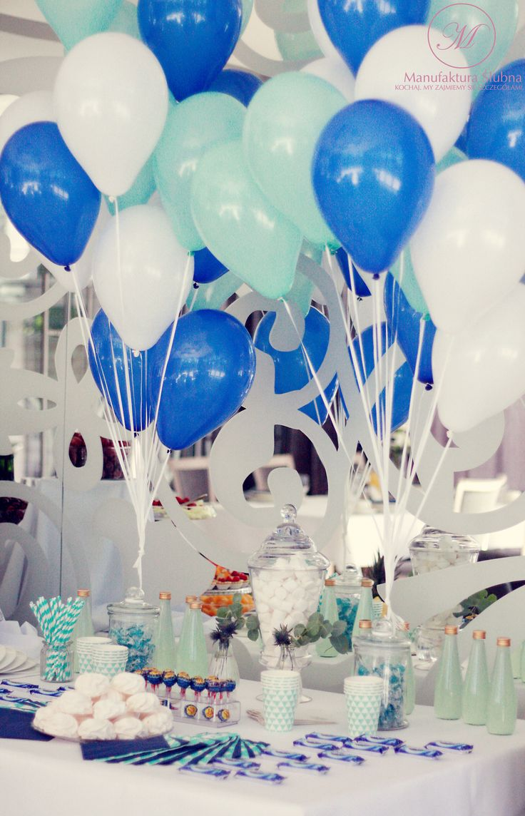 #wedding #decorations #baloons #candybar #blue #white #elegant #style #design #ślub #ślubne #dekoracje #styl #słodkistół #manufakturaslubna