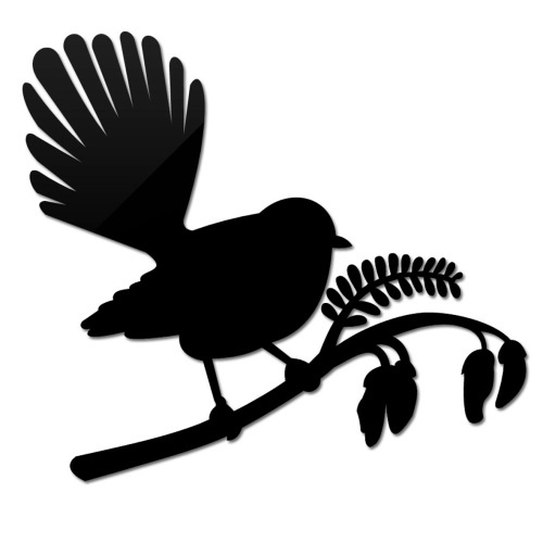 Small Fantail On Kowhai. Like the silhouette style