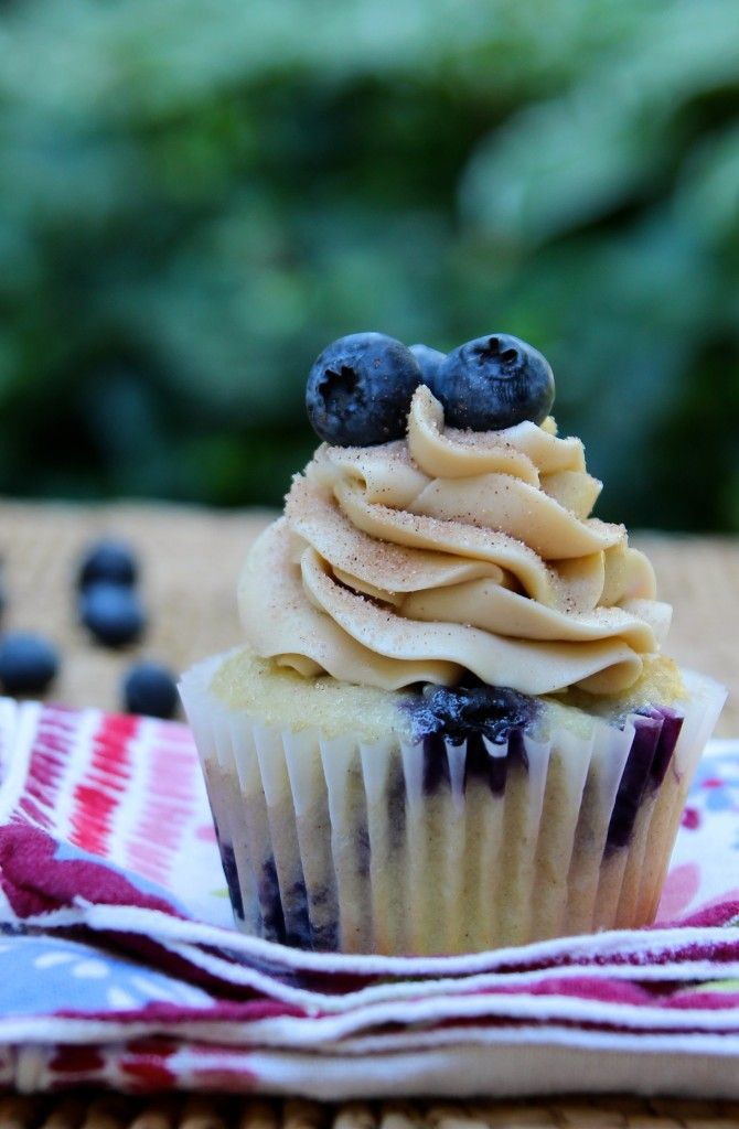 Blueberry Pancake Cupcake~T~ I used Greek yogurt instead of sour cream. Love the Maple buttercream and the cinnamon sugar sprinkled on the top of these delicious cupcakes.( I used some maple syrup instead of flavoring)
