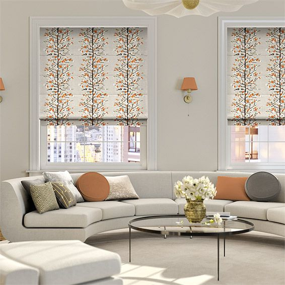 Berry Blossom Orange Roman Blind