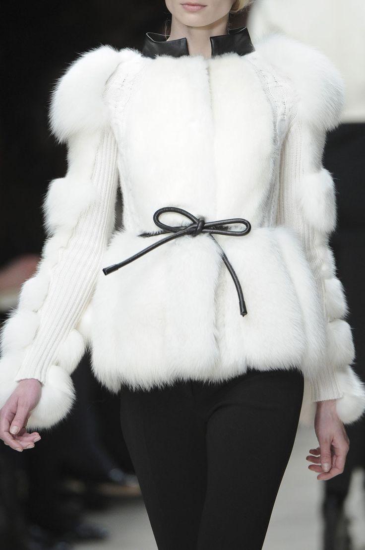 Burberry white fur coat
