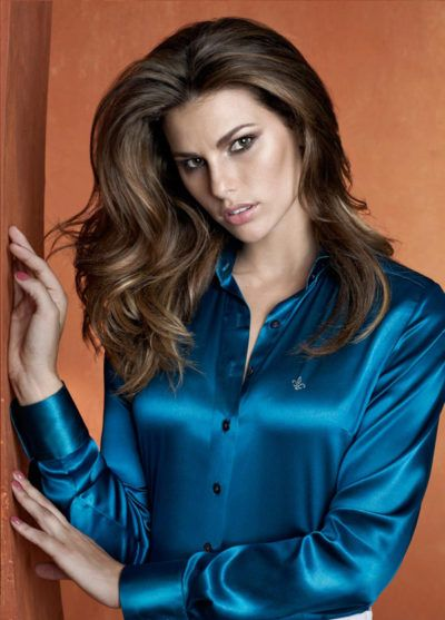 camisete social feminina de cetim azul