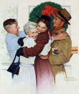 """""""Home for Christmas,"""" Norman Rockwell, 1955. http://www.pinterest.com/fiona5/deck-the-halls/"""