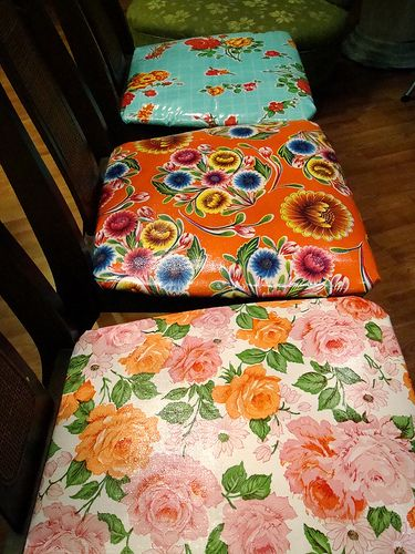 I love to Create: Oilcloth Covered Chairs | Vickie Howell