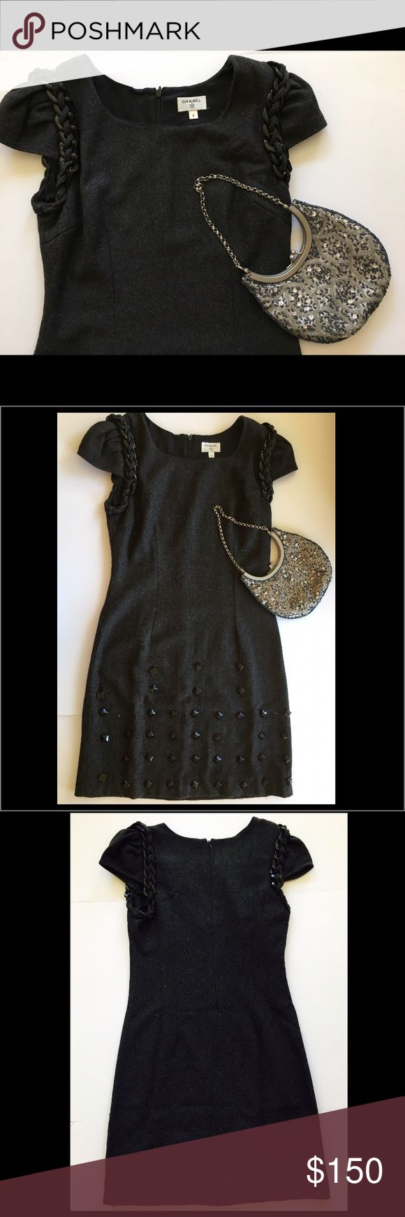 The dress is chanel - Vintage Chanel 90th Wool Dress Size 4