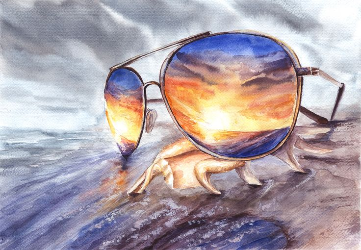 'Triple Sunset Reflection' by Ekaterina Mangorielle. Triple reflection consists of reflection in the sunglasses, reflection on the surface of wet sand and reflection of the reality in our minds: even if there is bad weather and storm clouds we can imagine and see colorful sunset. Watercolor, Fabriano Watercolor paper, 25x35 cm SS