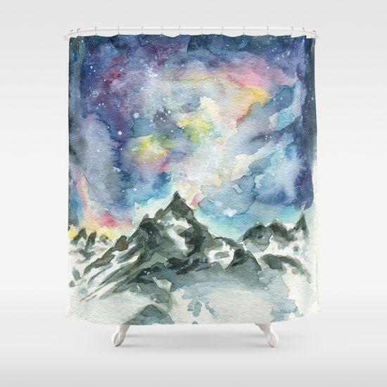 Matterhorn Mountain Shower Curtain under galaxy