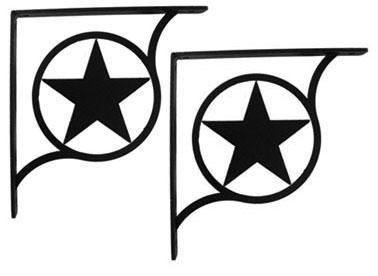 Wrought Iron Rodeo Star Shelf Brackets Corner Accent 6in