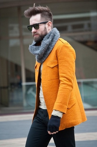 Men's Fashion: Hipster Haircuts, Orange, Winter Colors, Men Style, Menstyle, Men Fashion, Style Blog, Bright Colours, Man Style