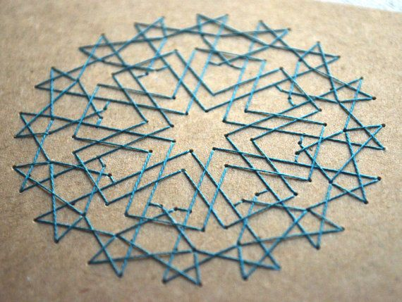 Islamic Geometric Star Design - Embroidered Card - Moroccan Pattern, Blue