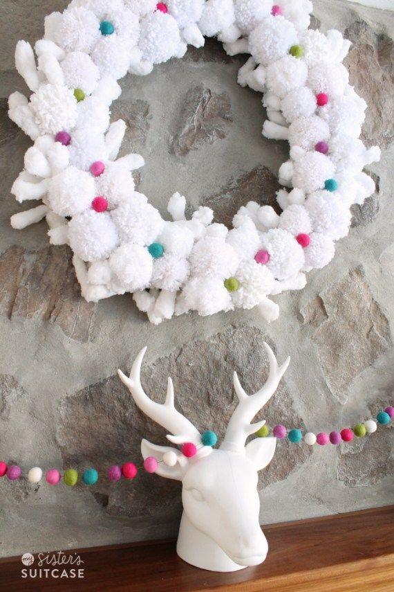 Pom pom wreath and felt ball garland