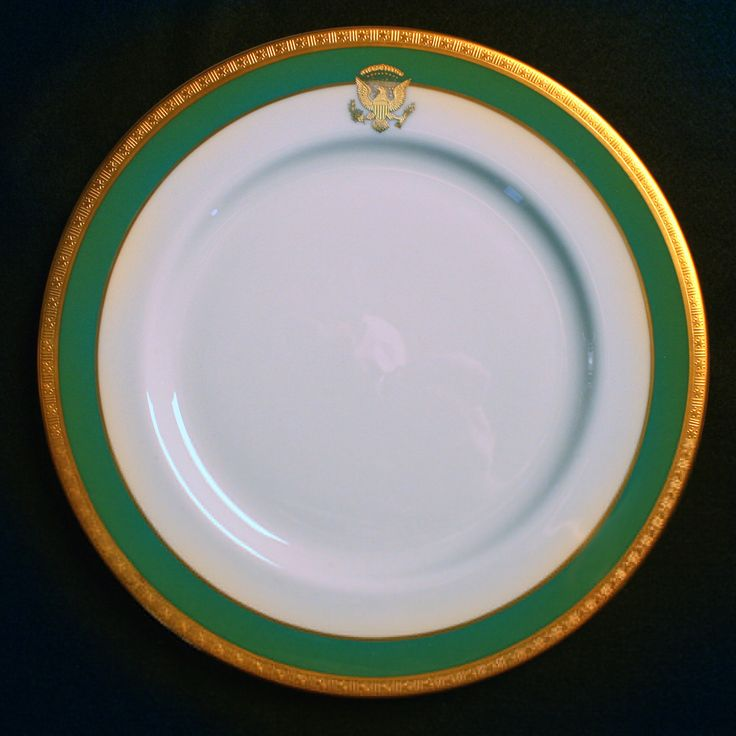 """President Jimmy Carter, 39th President of the United States (1977–1981) and First Lady Rosalynn Carter's """"Official"""" White House China actually arrived after they left office. Friends of the President and Mrs. Carter had presented them a Lenox China service decorated with a gold Presidential Seal and a """"Carter Green"""" border surrounded in 3-D gold detail. Most of this """"Official"""" White House China was delivered to the Carter Presidential Library. It is believed that the White House may have…"""