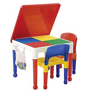 Mesa infantil con 2 sillas rojo amarillo azul cuarto for Sillas de escritorio sodimac