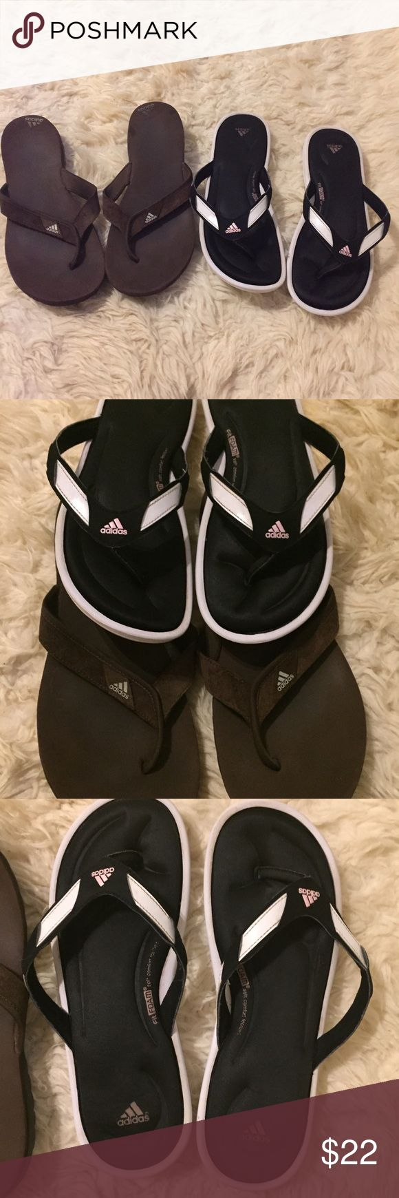ADIDAS FLIP FLOPS BUNDLE One pair of brown ADIDAS flip flops.  One black/white Fit FOAM soft comfort footbed flip flops.  Pre owned, good condition.  Can't find size but looks like 10/10.5.  Pet/smoke free home adidas Shoes Sandals