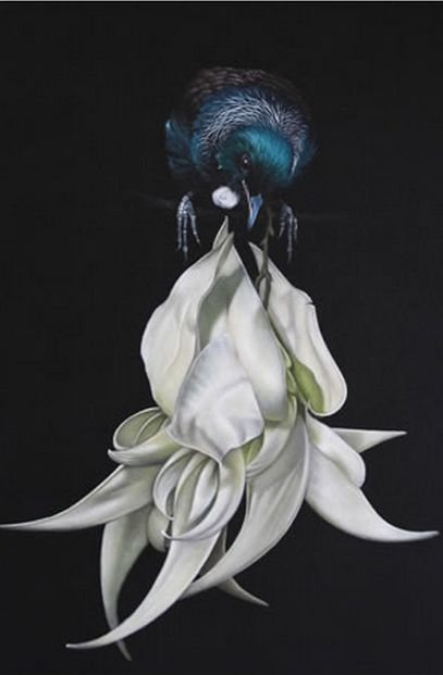 Tui on white Kakabeak - 'Hide and Seek by Jane Crisp. imagevault.co.nz