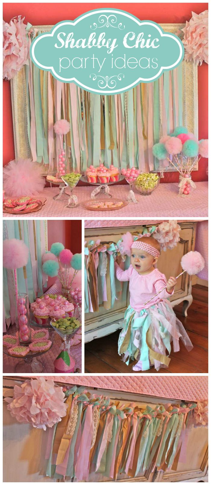 A shabby chic sugarplum fairy first birthday party with a sweets table and pom pom wand party favors! See more party planning ideas at CatchMyParty.com!