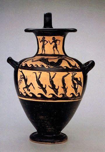 Vasija etrusca del siglo VI antes de Cristo que representa el momento el que los marineros se transforman en delfines.