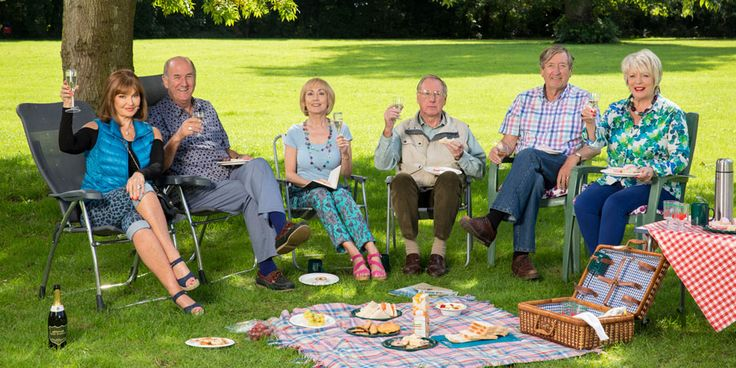 Boomers. Image shows from L to R: Maureen (Stephanie Beacham), John (Russ Abbot), Carol (Paula Wilcox), Trevor (James Smith), Alan (Philip Jackson), Joyce (Alison Steadman).
