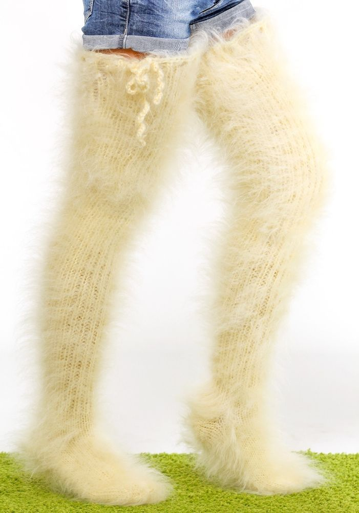 SUPERTANYA IVORY Hand knitted mohair socks fuzzy stockings fluffy leg warmers #SuperTanya #Casual