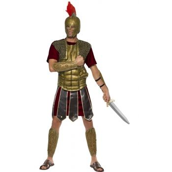 Perseus gladiator kostuum voor heren. Dit Romeinse kostuum bestaat uit de tuniek, borststuk en de arm en been schilden. Carnavalskleding 2015 #carnaval