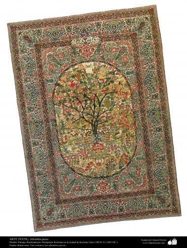 Alfombra persa diseño Paisaje realizada en la ciudad de Kerman  Irán en 1901