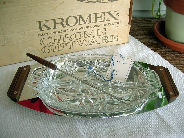 Excited to share the latest addition to my #etsy shop: Kromex Relish Server & Fork NOS in Box ~ MCM Chrome, Glass, Wood ~ Retro Vintage Mid-Century Modern Serving Tray / Dish Unused ~ Made in USA http://etsy.me/2F79Iy5 #housewares #serving #metal #silver #housewarming