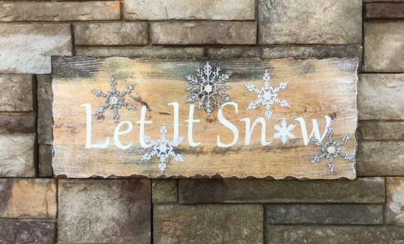 Handcrafted 3d Let It Snow Sign 3d Pine Sign Faux Glitter Snowflakes Winter 3d Sign Winter Snowflake Snow Signs Hanging Wall Decor Fun Office Decor