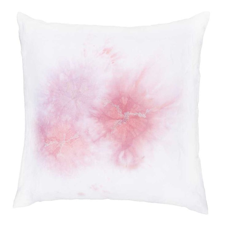 PAINTING EMBROIDERY CUSHION - Designed by Sabatina Leccia. Hand painted and embroidered in beautifully delicate hues. Available at http://www.chiaracolombini.com/fr/shop/coussins-design-5