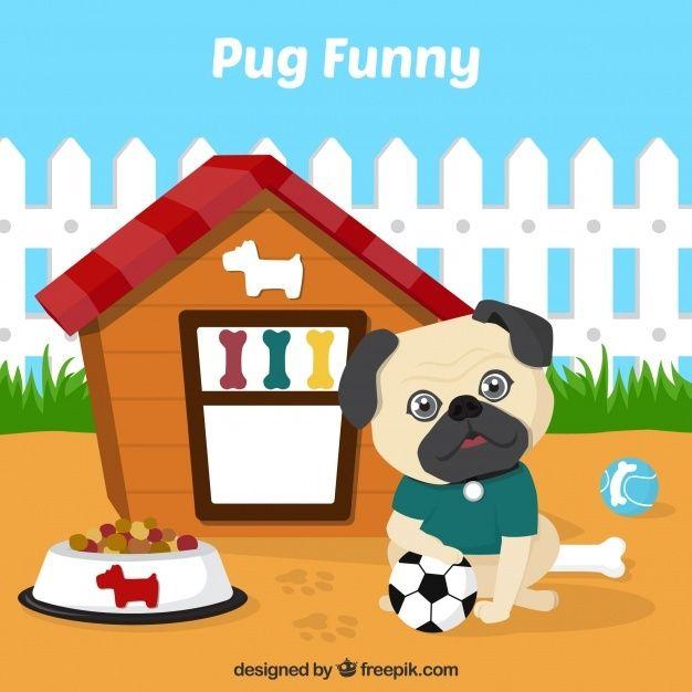Carlino Adorable Con Su Casa Free Vector Freepik Freevector Diseno Casa Perro Animal Perro De Dibujos Animados Retratos De Perros Perro Domestico