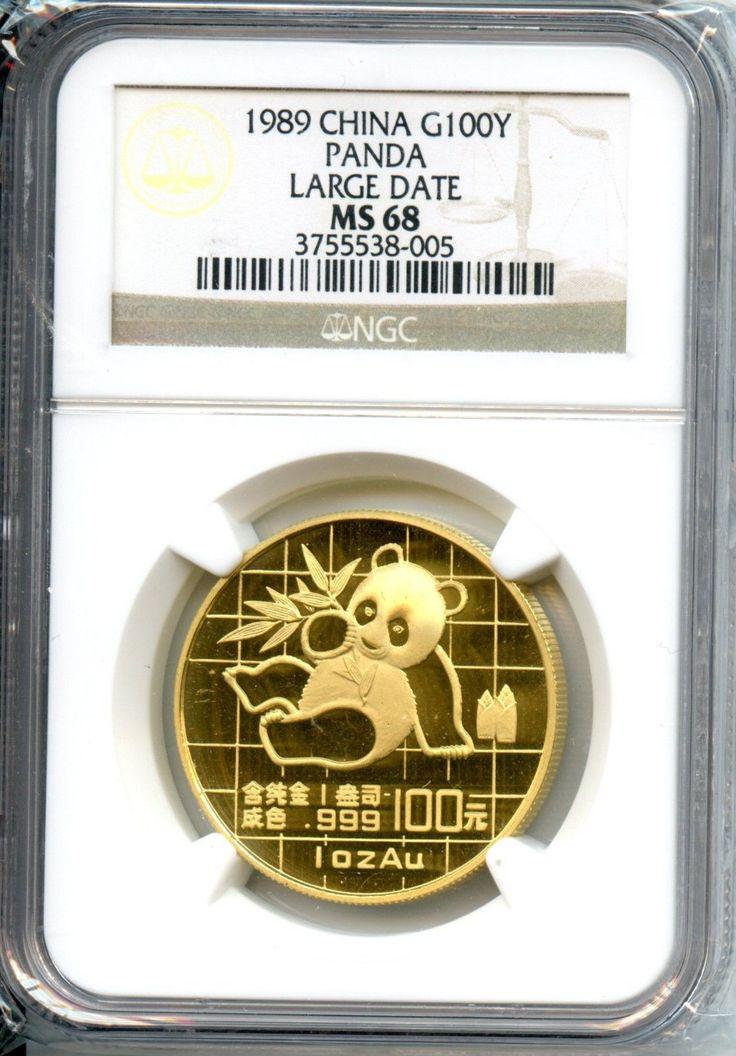 CHINA  1989  PANDA LARGE DATE  1  OZ GOLD  NGC  MS 68   100 YUAN
