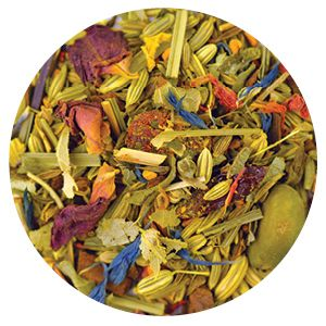 Item Code: 8367 Curious Cumin, 2.65 oz (75 g)  Ingredients: Fennel, anise, cinnamon bits, silver lime blossoms, cumin, turmeric, goji berries, lemongrass, rose blossom leaves, peppermint leaves, pistachios, pomegranate blossoms, cardamom, sunflower blossoms, cornflower blossoms, safflowers, natural flavors. Contains pistachios. May contain other tree nuts.